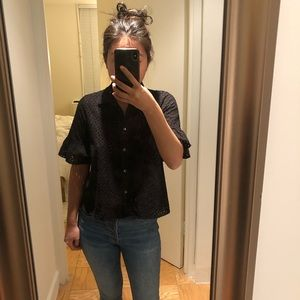 Madewell black button down with ruffled sleeves